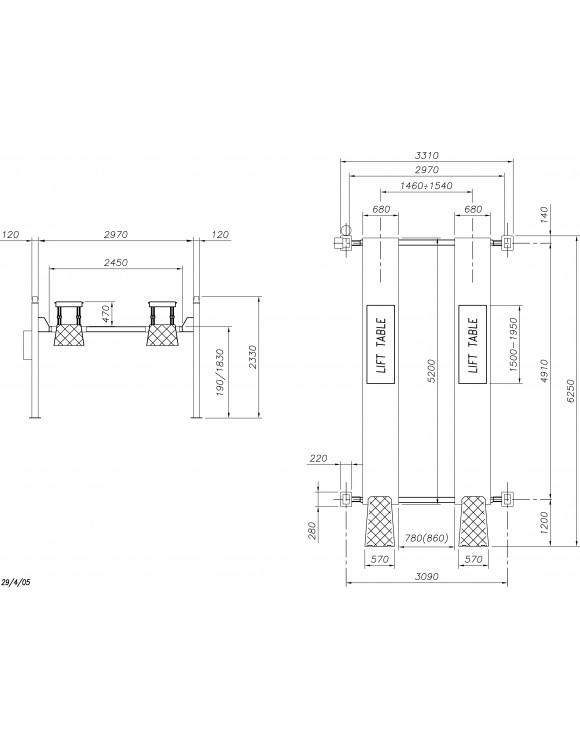 Elevador 4 columnas electro-hidraulico (5TN) mod.450 LT