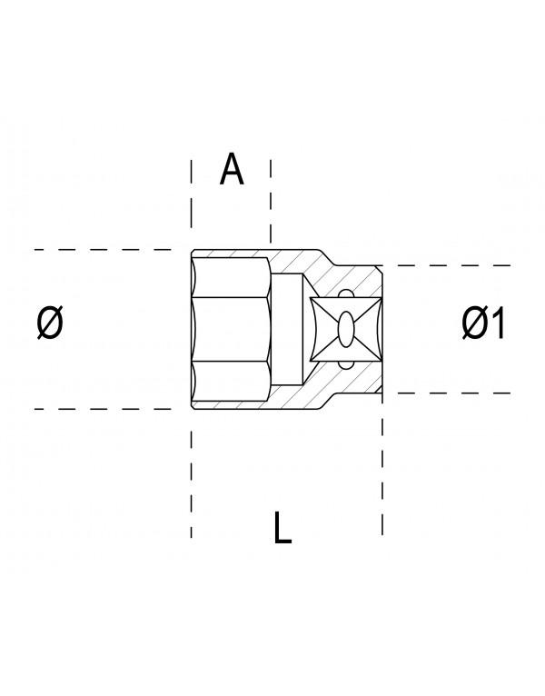 balikha Llave De Vaso M/étrica Universal De 24 Mm Tipo L De Seis Z/ócalos 17mm