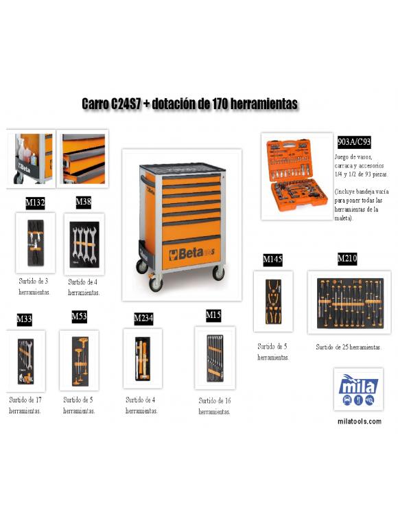 CAJONERA C24S7 CON 170 HERRAMIENTAS INCLUIDAS C24S7/170