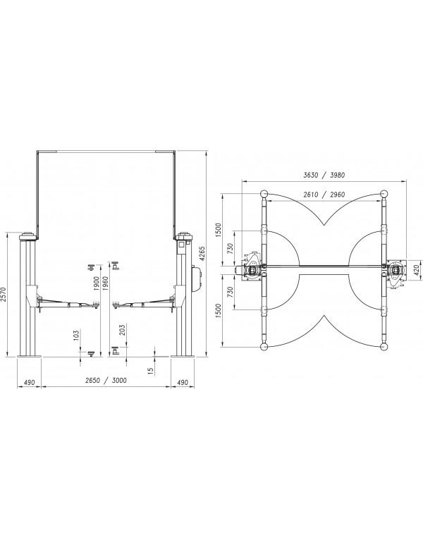 Elevador 2 columnas sin base (4TN) mod. 254 S/4