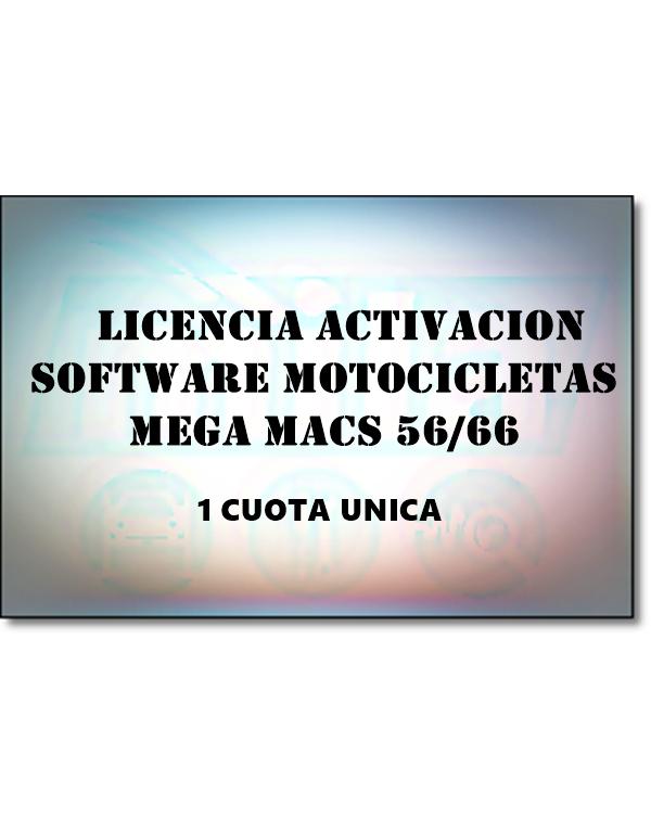 LICENCIA ACTIVACION SOFWARE MOTOCICLETAS MEGA MACS 56 / 66