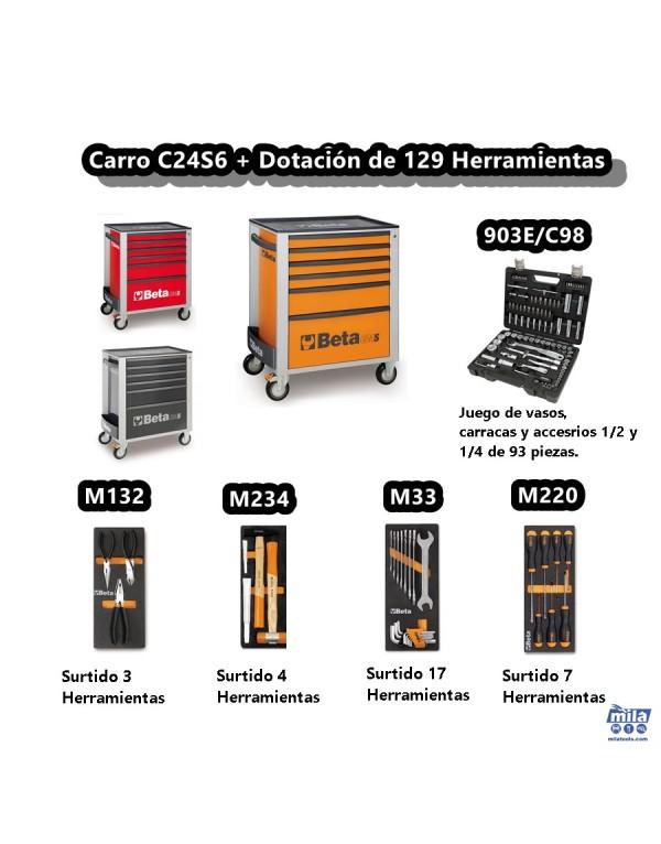 CARRO CON 129 HERRAMIENTAS INCLUIDAS C24S6/129